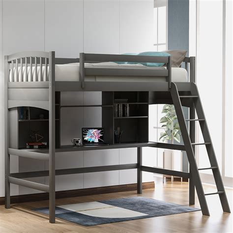 Give your bedroom a master appearance with this luxurious twin size bedframe and wing back headboard. Twin size Loft Bed with Storage Shelves, Desk and Ladder ...