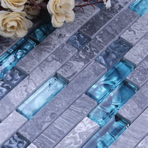 grey marble stone blue glass mosaic tiles backsplash