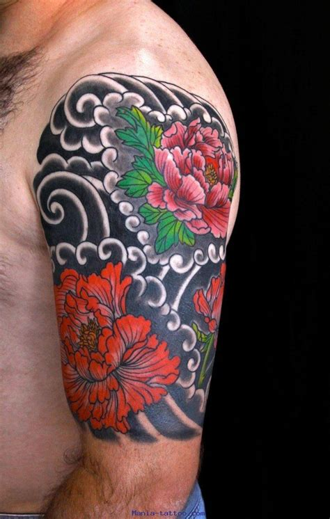 great colorful japanise flowers  black background tattoo