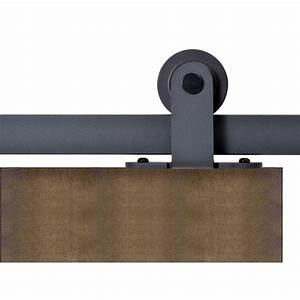 calhome top mount 72 in matte black barn style sliding With barn door tracking mount