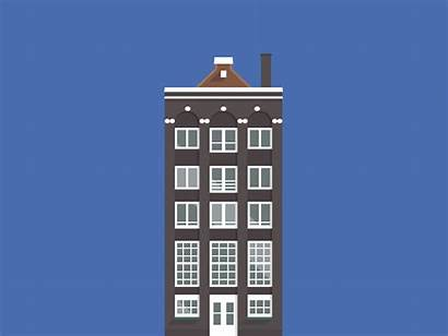 Amsterdam Buildings Illustration Gifs Animated Houses Giphy