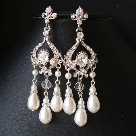 pearl chandelier bridal earrings vintage inspired wedding