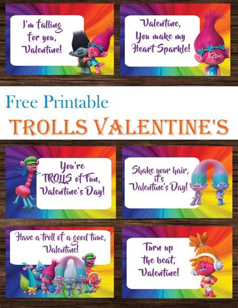 trolls valentines day cards  printables printables  mom  printable trolls