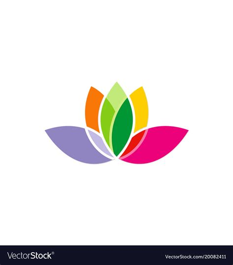 Lotus Flower Colorful Logo Royalty Free Vector Image