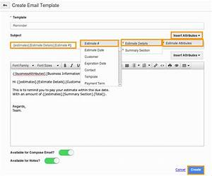 How do i create message template in estimates app for Making an email template