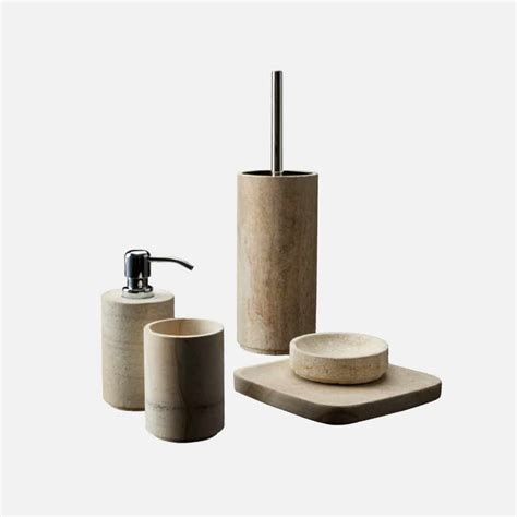 House Design Accessori Bagno Set Accessori Bagno Pietra E Legno Fossile Design Alpino