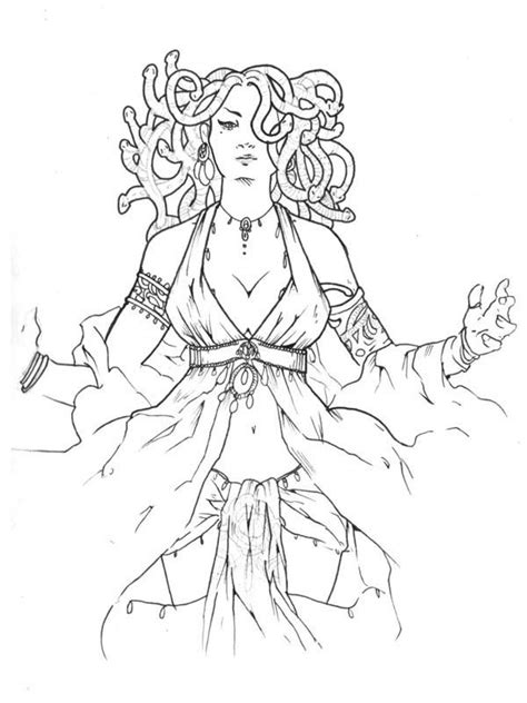 Medusa is a Beautiful Lady Coloring Page | Greek