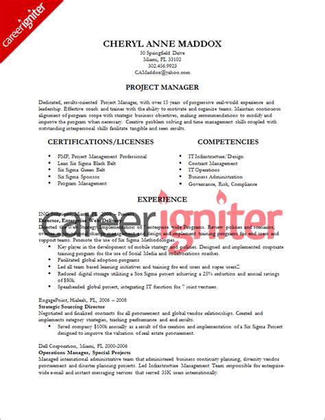 project management resume sle sle resumes