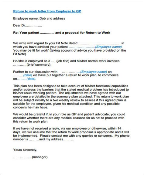 return to work letter 22 work letter sles sle templates