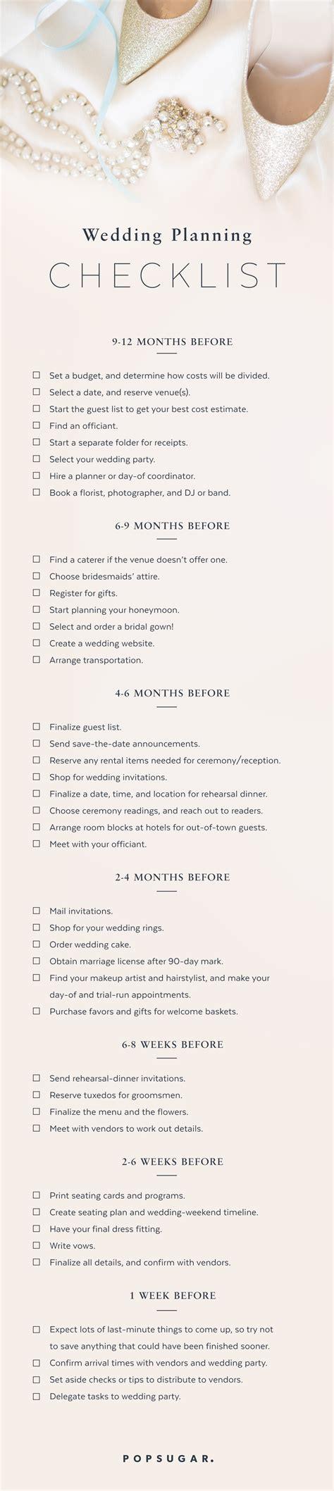 wedding planning checklist popsugar smart living