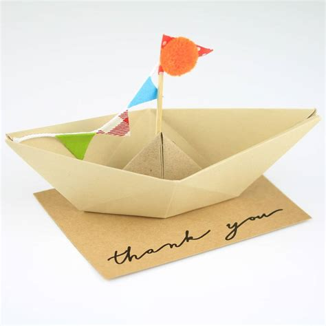 Origami Boat Decoration by Thank You Origami Boat Greeting Decoration By Nest