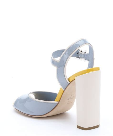 light blue strappy heels lyst fendi light blue patent leather strappy sandals in blue