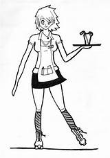 Waitress Drawing Sketch sketch template
