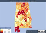 Alabama County Map and Population List in Excel