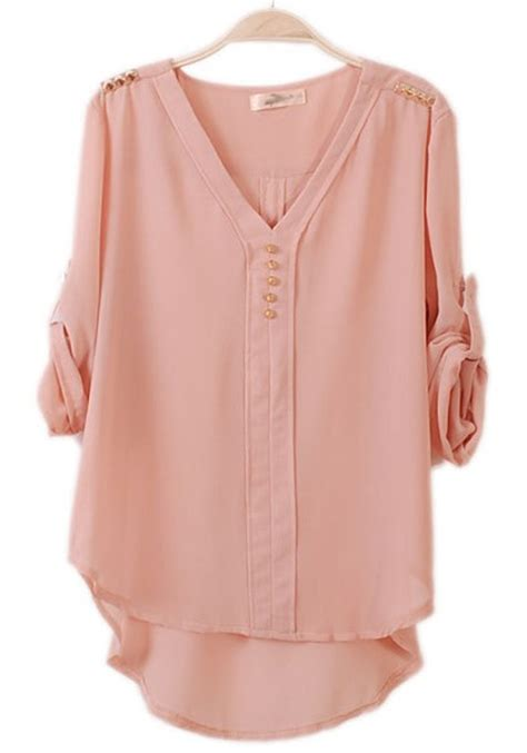 pink blouses pink irregular rivet epaulet seven 39 s sleeve chiffon blouse