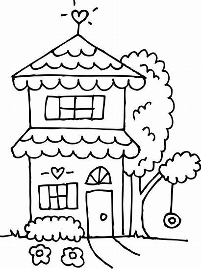 Clipart Coloring Clip Outline Houses Story Drawing