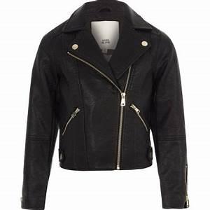 Girls black faux leather biker jacket - Jackets - Coats ...