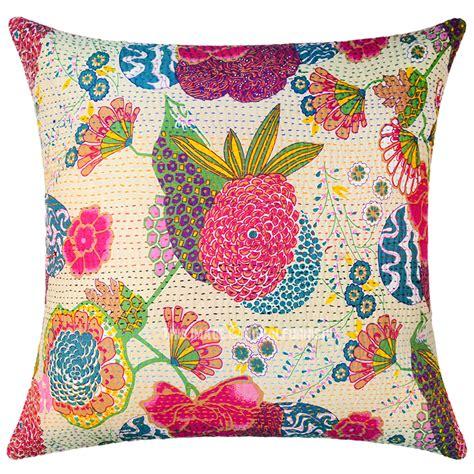 24 inch square pillow covers beige color decorative unique kantha square throw pillow