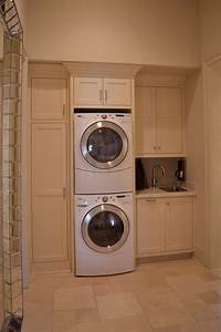 Beautiful laundry room ideas stacked washer dryer with for Suggested ideas for laundry room design