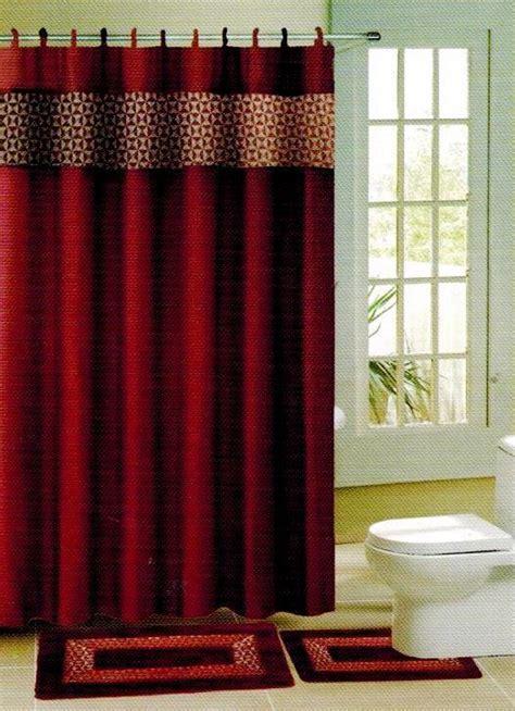 Burgundy Coloured Bathroom Accessories by Burgundy Wine Print Fabric Shower Bathroom Curtain