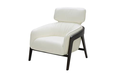 modern white leather accent chair with wood legs