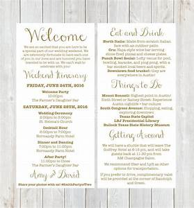 Welcome letter weekend itinerary wedding itinerary gold for Welcome letter for hotel guests wedding