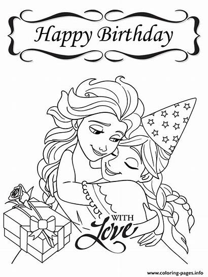Coloring Birthday Happy Pages Disney Frozen Colouring