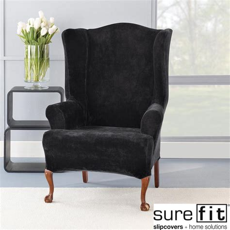 Accent Chair Slipcover Stretch Plush Black Wing Chair Slipcover Contemporary