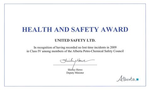 Safety Recognition Certificate Template by Awards And Recognition United Safety