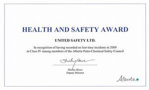 awards and recognition united safety With health and safety certificate template
