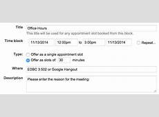 Office Hour Appointment Signup with Google Calendar Eric