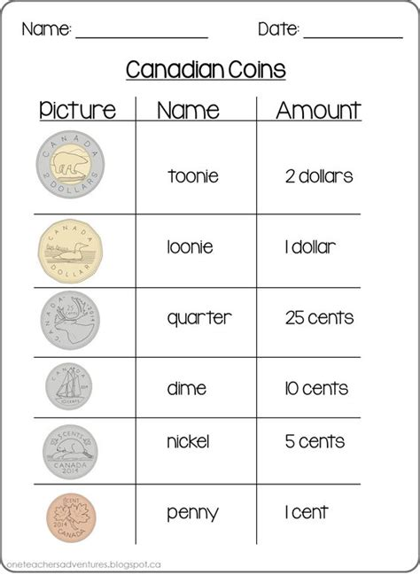 free canadian coins counting money sheets grade 1