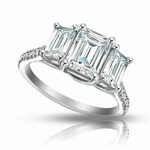 2.10 ct Ladies Emerald Cut Diamond Engagement Ring