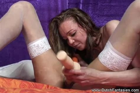 Dutch Fantasies Horny Lesbian Dutch Brunettes In Stockings Have Dildo Sex In Bed Porndoe
