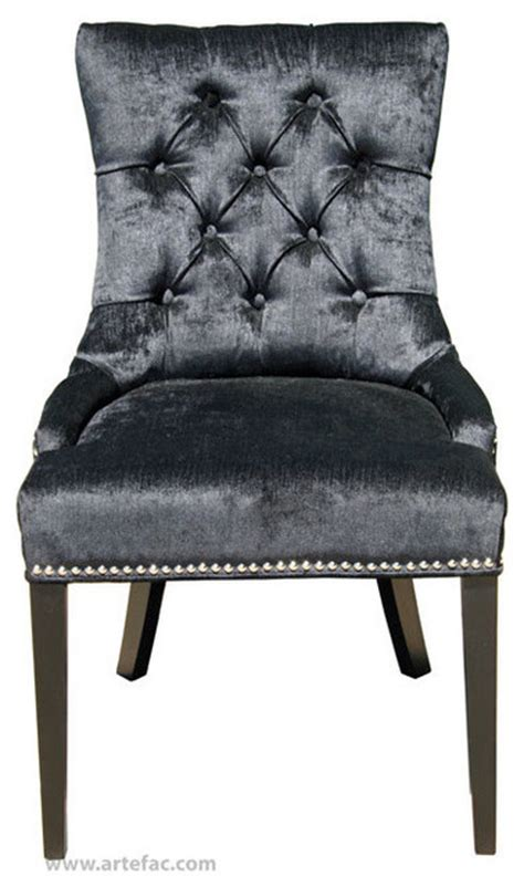 accent tufted fabric dining chair with silver nailhead