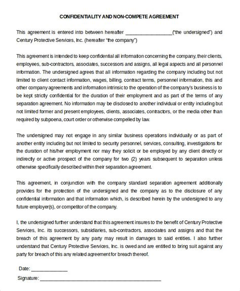 confidentiality and non compete agreement template non compete agreement template 9 free sle exle format free premium templates