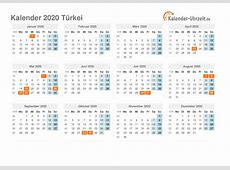 Feiertage 2020 Türkei Kalender & Übersicht