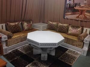 Salon Marocain Blanc : canap s de salon marocain en bois d cor salon marocain ~ Nature-et-papiers.com Idées de Décoration
