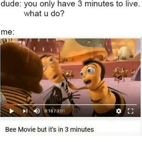100 Memes In 3 Minutes - dude you only have 3 minutes to live what u do me bee movie but it s in 3 minutes bee movie