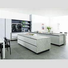 Küchen Design Hochglanzfronten Marmor Arbeitsplatte