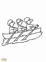 Coloring Row Boat Rowing Pages Getcolorings Printable Team sketch template
