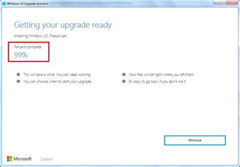diy windows 10 upgrade assistant stuck at 99 installing