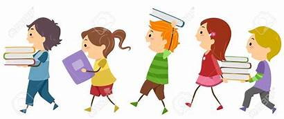 Clipart Kid Books Children Library Cartoon Carrying
