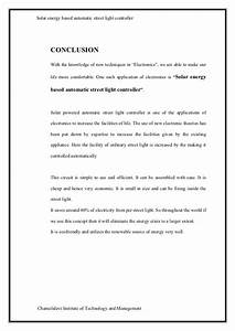 Automatic Street Light Controller Using Ldr Project Report Solar Powered Automatic Street Light Controller Report