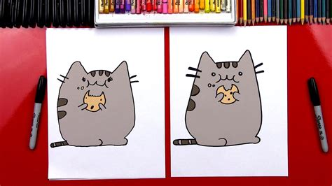 draw  pusheen cat eating  cookie giveaway