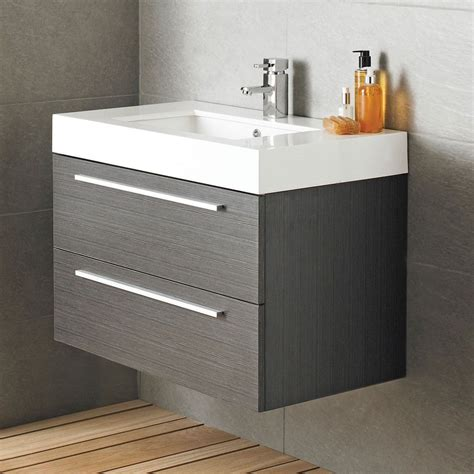 Bathroom Vanity Units - vienna wall mounted vanity unit 800mm wide textured grey