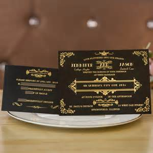 gatsby wedding invitations foil gold and black great gatsby wedding invitations ewfi023 as low as 1 62