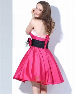 Hot Pink Strapless Lace Up Back Mini Taffeta Cocktail ...