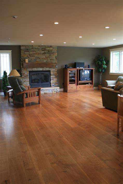 Brick Groin Vault Ceiling by Wide Plank White Oak Flooring Family Room Modern With Dark