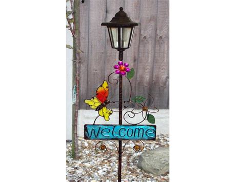 solar welcome sign led l lantern light outside garden